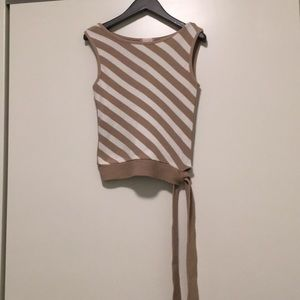 Stripped beige knit top small